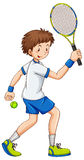 Tennis player hitting ball with racket Royalty Free Stock Photography