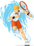 Tennis Player Holding Racket Royalty Free Stock Photography