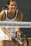 Tennis Player, holding racket, Waiting For Serve Royalty Free Stock Images