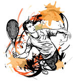 Tennis player. Illustration on watercolor Royalty Free Stock Image