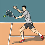 Tennis player. Illustrator of tennis player in tennis court Stock Image