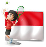 A tennis player with the Indonesian flag Stock Photos
