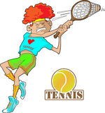 Tennis player. A tennis player intently hits the ball back Royalty Free Stock Photo