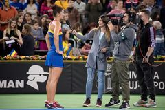 Tennis player during interview. CLUJ NAPOCA, ROMANIA - FEBRUARY 11, 2018: Romanian tennis player Irina Begu answering questions during an interview after she won Royalty Free Stock Images