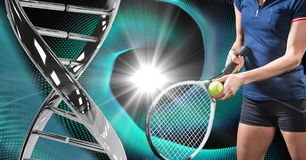 Tennis player with iron DNA chain against a black and blue lights background Stock Images