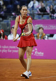 Tennis player Jelena Jankovic serves the ball during a tennis match Royalty Free Stock Photo