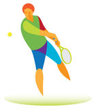 Tennis player kick with both hands Royalty Free Stock Image