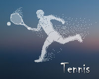 Tennis player kicks the ball. On the blur background, square particle divergent composition, vector illustration Royalty Free Stock Photo