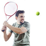 The tennis player with knob. Tennis player looking / Arabic latino over white with hard light Royalty Free Stock Photo