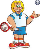 Tennis player lion mascot Stock Images