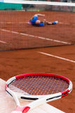 Tennis player lost the game Stock Images