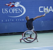 Tennis player Lucas Sithole from South Africa during US Open 2013 wheelchair quad singles match Royalty Free Stock Images