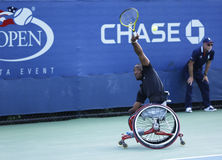 Tennis player Lucas Sithole from South Africa during US Open 2013 wheelchair quad singles match Royalty Free Stock Photos