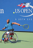 Tennis player Lucas Sithole from South Africa during US Open 2014 wheelchair quad singles match Stock Photography