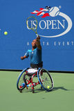 Tennis player Lucas Sithole from South Africa during US Open 2014 wheelchair quad singles match Royalty Free Stock Photography