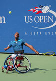 Tennis player Lucas Sithole from South Africa during US Open 2014 wheelchair quad singles match Royalty Free Stock Images
