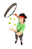 Tennis player magician Royalty Free Stock Images