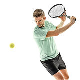 Tennis player man isolated Stock Image