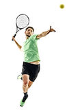 Tennis player man isolated. One caucasian man playing tennis player isolated on white background stock image