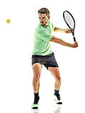 Tennis player man isolated Royalty Free Stock Images