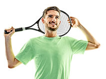 Tennis player man isolated Royalty Free Stock Photos