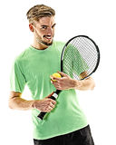 Tennis player man isolated Stock Images
