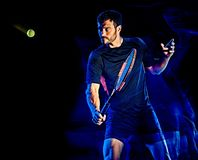 Tennis player man light painting isolated black background stock photos