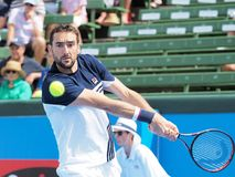 Tennis player Marin Cilic preparing for the Australian Open at the Kooyong Classic Exhibition tournament. Melbourne, Australia - January 10, 2018: Tennis player Royalty Free Stock Photo