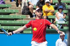 Tennis player Matthew Ebden  preparing for the Australian Open at the Kooyong Classic Exhibition tournament. Melbourne, Australia - January 11, 2018: Tennis Royalty Free Stock Photography