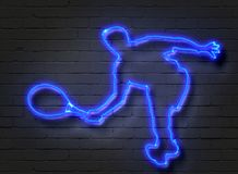 Tennis Player, Neon Sign On Brick Wall Stock Image