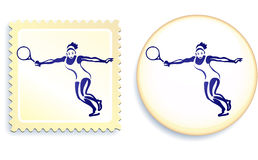 Tennis Player On Stamp And Button Set Stock Image
