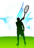 Tennis Player On World Map Background Stock Photography