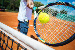 Tennis player playing a match Royalty Free Stock Images