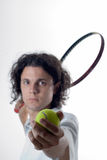 Tennis Player Posing-Vertical Stock Photo