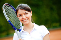 Tennis player with a racket Stock Image