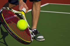 Tennis Player, racket and ball Stock Images