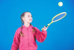 Tennis player with racket and ball. Little teen girl. Fitness diet brings health and energy. Happy child teen girl play. Tennis. Sport game success. Gym workout stock images