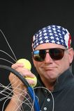 tennis player with racket loose strings stock images