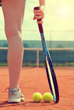 Tennis player with racket. Royalty Free Stock Photography