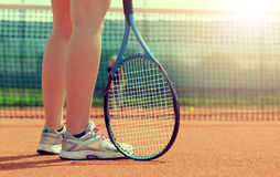 Tennis player with racket Stock Photography