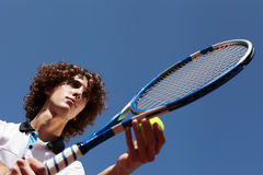 Tennis player with racket during a match game Royalty Free Stock Photos