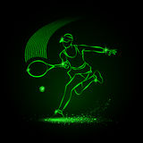 Tennis player with racket. Vector neon illustration royalty free illustration