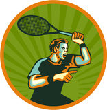 Tennis Player Racquet Circle Retro Stock Image