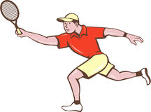 Tennis Player Racquet Forehand Cartoon. Illustration of a tennis player holding racquet playing tennis doing a forehand shot viewed from the side set on isolated Stock Photo