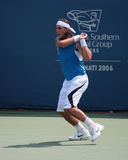 Tennis Player Rafael Nadal. Professional Tennis Player Rafael Nadal hitting a backhand Royalty Free Stock Photography