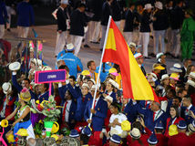 Tennis player Rafael Nadal carrying the Spanish flag leading the Spanish Olympic team in the Rio 2016 Opening Ceremony Stock Image