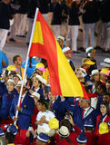 Tennis player Rafael Nadal carrying the Spanish flag leading the Spanish Olympic team in the Rio 2016 Opening Ceremony Stock Images