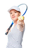 Tennis player ready to hit the racquet on the ball Stock Photos