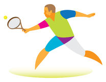 Tennis player receives the ball complex Stock Images