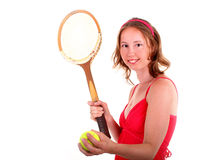 Tennis player in red dress Royalty Free Stock Photo